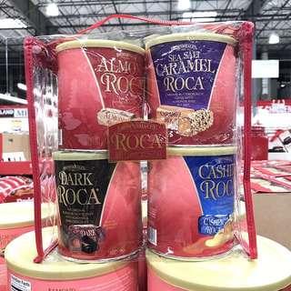 保證美國原裝 聖誕🎄超值Roca樂家杏仁糖 經典原味/海鹽焦糖/腰果/黑巧克力 4種口味4罐裝大禮包組合 共1136g