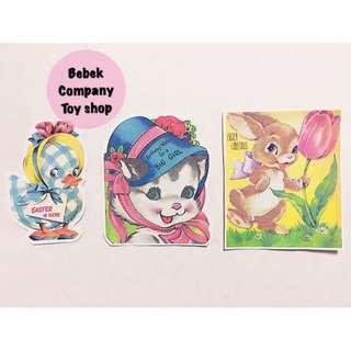 1990s Retro stickers 復古 綿羊 兔子 小鴨 貓咪 熊熊 娃娃 貼紙 紙製貼紙 一套3張