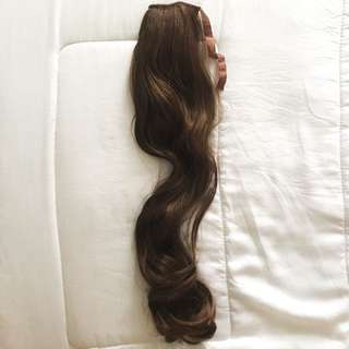 Poni tail hairclip brown wave 60 cm