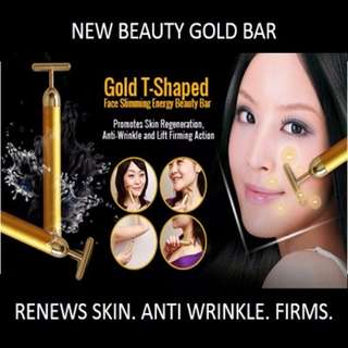 ★[NEW] SALE★ Beauty Secret - Gold T-Shaped Face Slimming Energy Beauty Bar: Promotes Skin Regeneration Anti-Wrinkle and Lift Firming Action