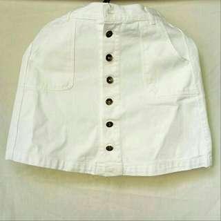 White Buttons Skirt