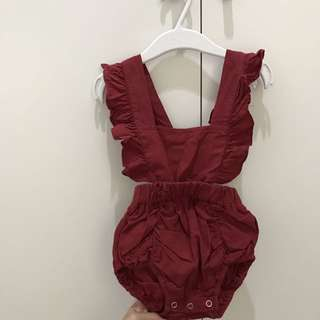 Red Ruffled Romper (3-6 months)