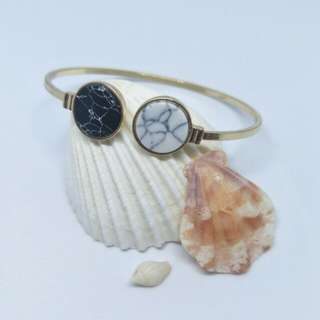 Black White marble bangle