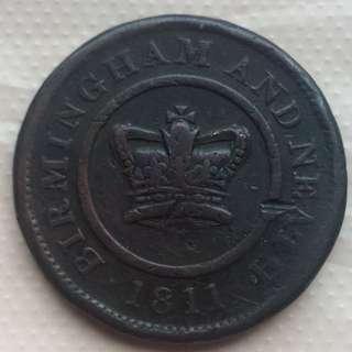 1811年 UK 英國 伯明罕 One Penny 銅業代幣 大而厚身
