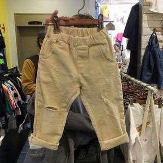 韓國小人彈力割破牛仔褲