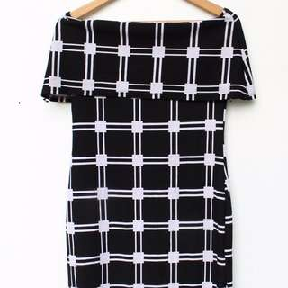 REPRICED! Off Shoulder Grid Patterned Dress