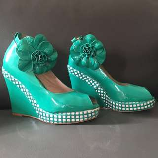 Alannah Hill Patent Green Leather Wedges - reduced
