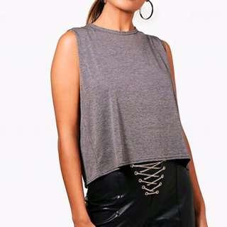 Grey Split Back Cropped Shirt