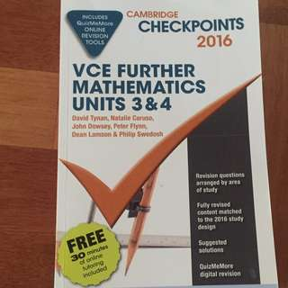 VCE 3/4 FURTHER MATHS 2016 CHECKPOINTS BOOK (APPLICABLE TO NEW STUDY DESIGN)