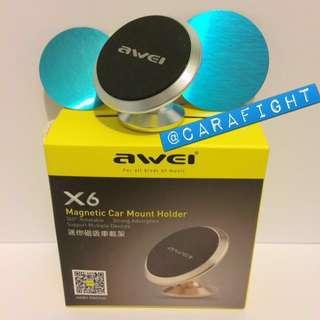 AWEI X6 Magnetic Car Mount Holder, 磁吸電話架, 手提電話架