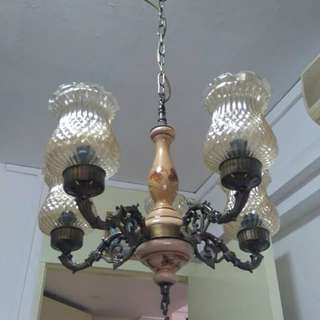 $250 vintage European Brass and Porcelain Hanging Lamp