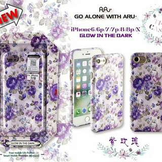 💜Purple Rose Patterned|Glow In The Dark| High Quality Gloss Embossed Soft Shell Phone Case iPhone 6/7/7P/8/8P