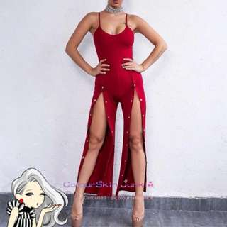 Red Split Overall Long Jumsuit