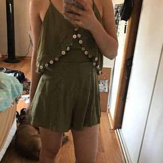 WOMAN KHAKI PLAYSUIT SUMMER SIZE 6