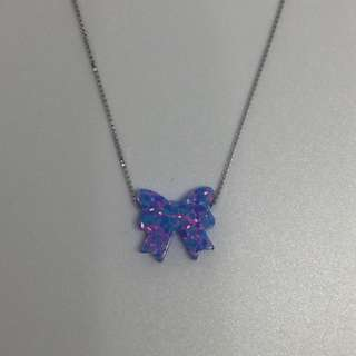 Opal Simulant S925 Sterling Silver Necklace: BOW