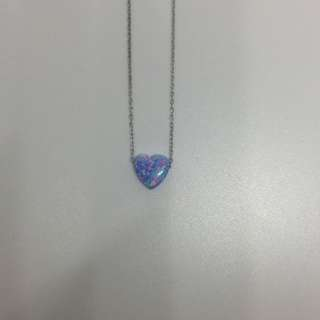 Opal Simulant Pendant with S925 Sterling Silver Chain Necklace: Heart
