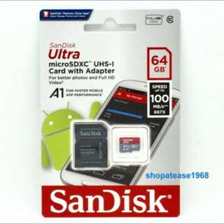 Sandisk 閃迪 Ultra Micro SD SDXC Memory Card 記憶卡 64G 64GB 100MB/s Class 10 UHS-I
