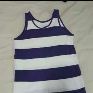 White and purple striped tank