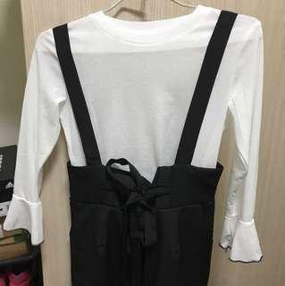 Pufii-白色喇叭袖上衣+花苞吊帶寬褲