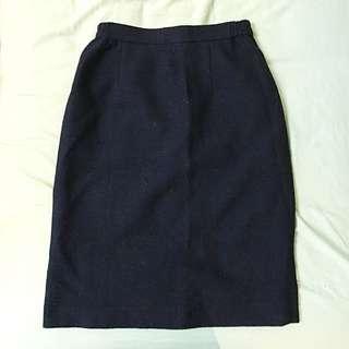 深藍 古著高腰裙