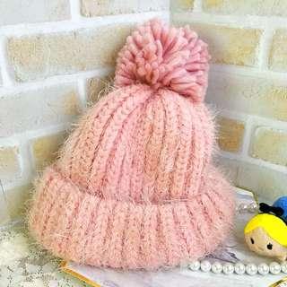 全新 粉紅色 毛帽 Net