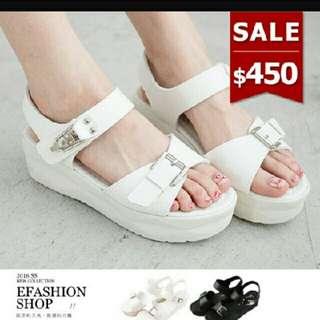 近新✨白色厚底釦帶涼鞋 #手滑買太多