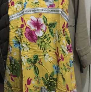 Yellow Floral Beach Dress