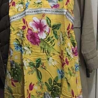 Yellow Floral Beach Dress