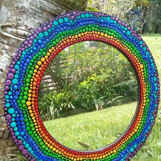 Mirror Hand painted Dot Art Rainbow Colours