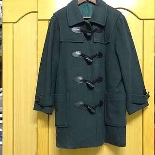 牛角扣 深綠大衣
