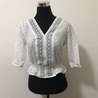 White Cross-stitched Top