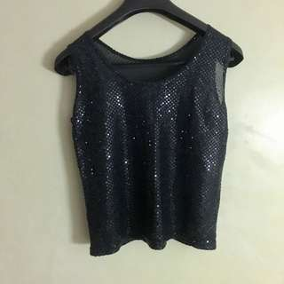Black Sequined Top