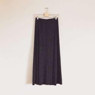 日本古著 點點花紋排釦高腰長裙