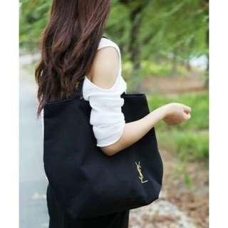 全新 正品 YSL VIP 專櫃贈品 帆布包 刺繡單肩手提包
