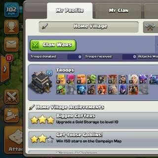 Coc Account Th9 Max walls High hero