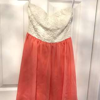 Strapless white/pink dress (SIZE SMALL)