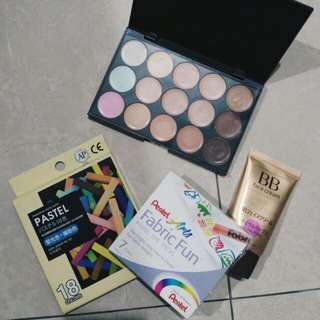 Get in bundle!! (Contour pallet, foundation, fabric crayon, hair dy chalk)