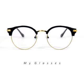 小韓國半圓框金屬眼鏡-高階合金-鏡框-墨鏡-Myglasses個人眼鏡