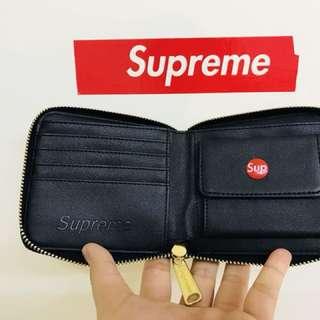 加拿大製·嬉皮士潮牌Supreme拉鏈皮夾_黑、灰、藍