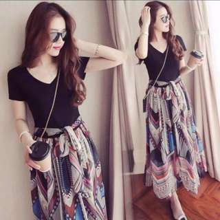 Black and Printed Skirt Chiffon Dress