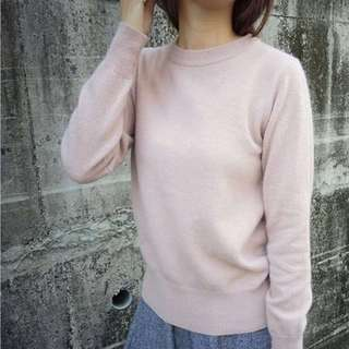 🚚 全新 正韓 混兔毛基本款粉嫩素色毛衣 #手滑買太多
