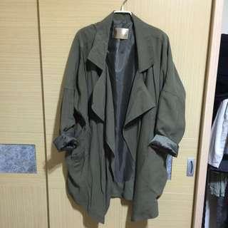 🚚 二手 正韓 軍綠長版風衣外套 #手滑買太多