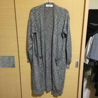 🚚 九成新 正韓 灰白雪花配色長版罩衫 #手滑買太多