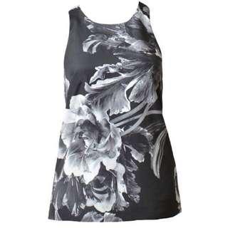 Keepsake The Label Better Off Alone Black White Bloom Tank Blouse - Size S