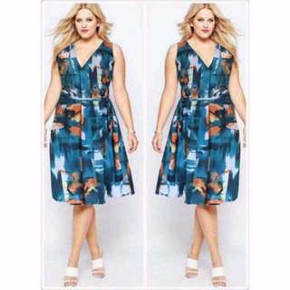 PLUS SIZE V LINE DRESS STRETCHABLE M-XL