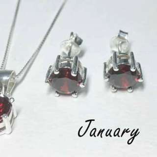 Birth stone necklace set 92.5 Italy silver