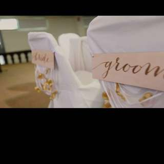 Groom and Bride wedding chair signange with ribbons