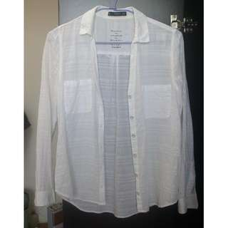 西班牙 MANGO 白色棉麻材質清新襯衫