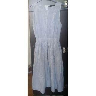 西班牙 ZARA TRAFALUC 條紋設計棉麻氣質洋裝