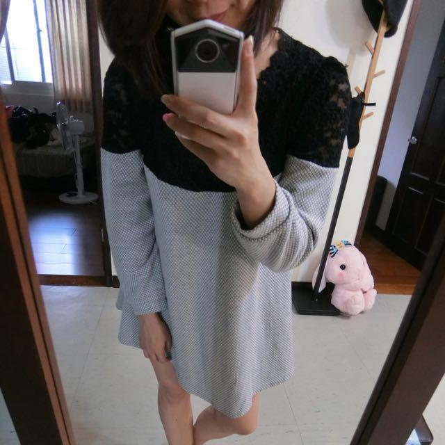 九成新正韓黑白拚接洋裝#手滑買太多